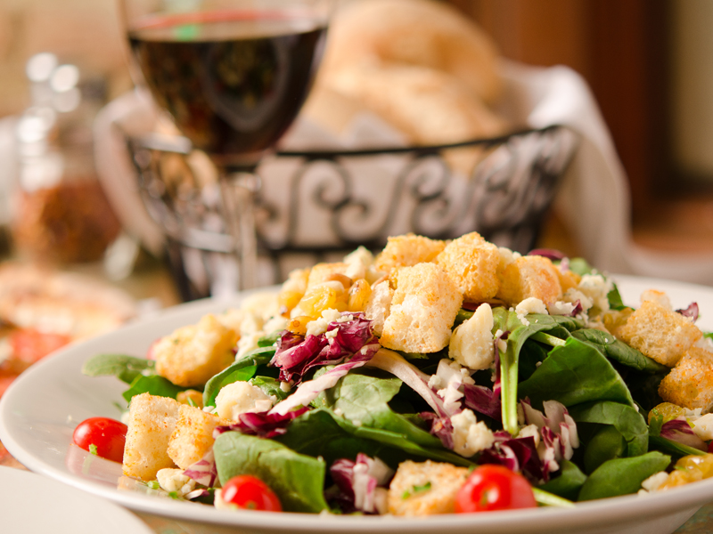 fresh salad loaded with croutons