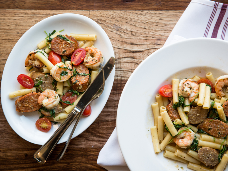 shrimp, sausage and penne