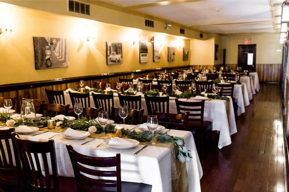 overview of the private dining room of Pietro's South Street